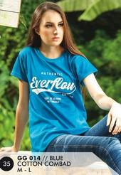 Kaos T Shirt Cotton Combad Wanita Biru GG 014