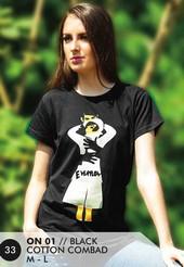 Kaos T Shirt Cotton Combad Wanita Hitam ON 01