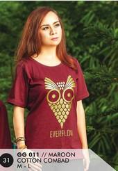 Kaos T Shirt Cotton Combad Wanita Marun GG 011