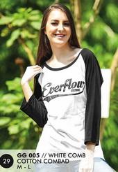 Kaos T Shirt Cotton Combad Wanita Putih GG 005
