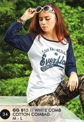 Kaos T Shirt Cotton Combad Wanita Putih GG 015