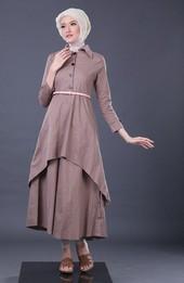 Gamis Coklat Garsel Fashion GNR 4936